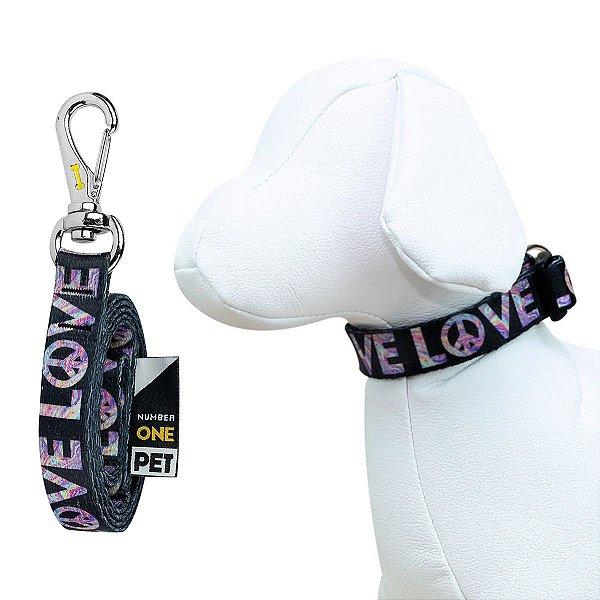 Coleira e Guia Para Cachorro Number One Love
