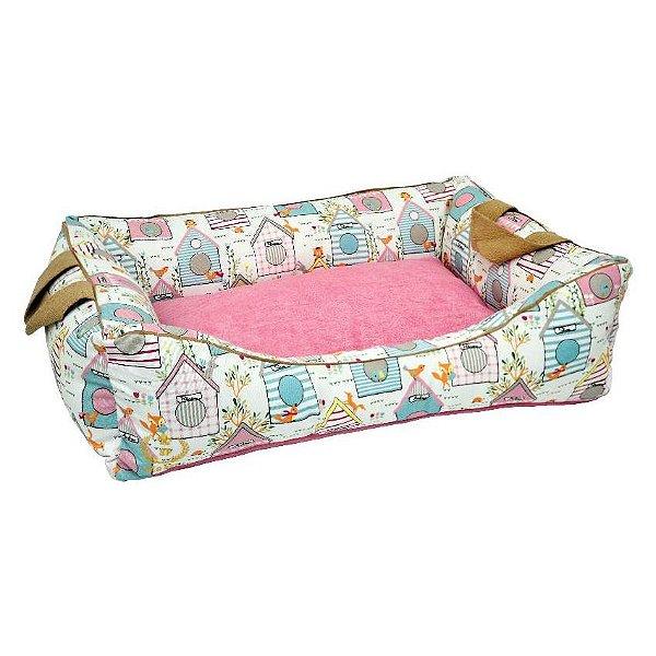 Cama Para Cachorro São Pet Garden Impermeável Rosa