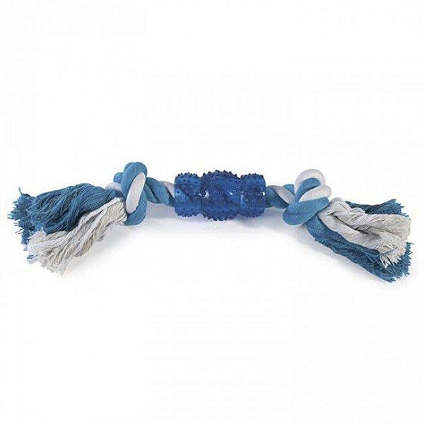 Brinquedo Para Cachorro Corda Rubber Bone Azul