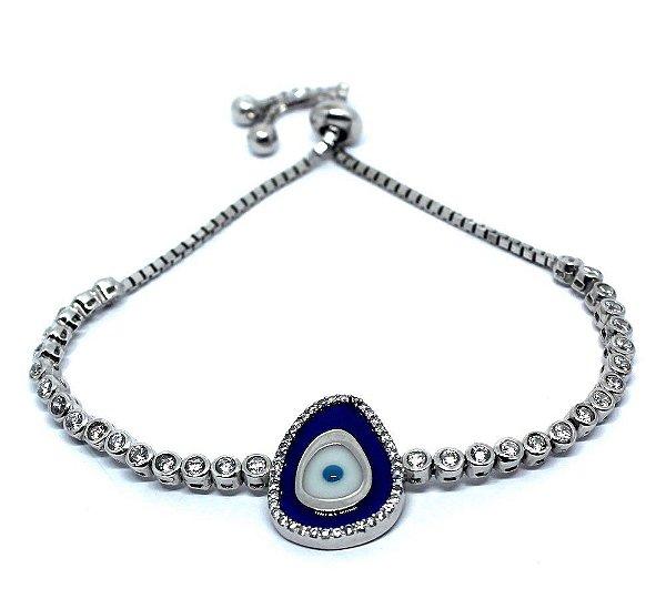 a1f4f6d2348 Pulseira ajustável oval olho grego prata 925 com micro zircônia ...