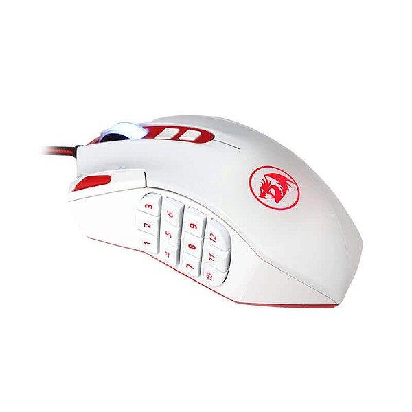 Mouse Laser Gamer Redragon Perdition 16400dpi 18 botões e Ajuste de Peso USB M901W  (WHITE)