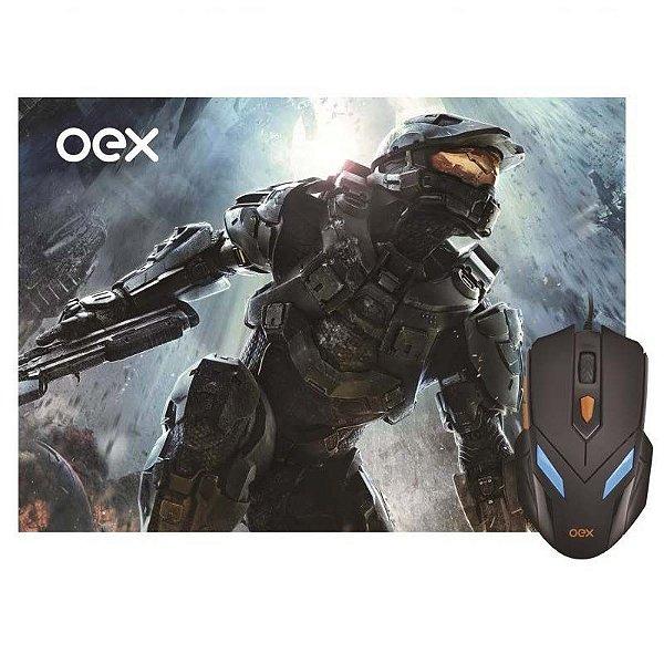 Combo Gamer OEX Mouse 2400DPI 7 cores + Mousepad (29 cm x 23 cm) - MC-100