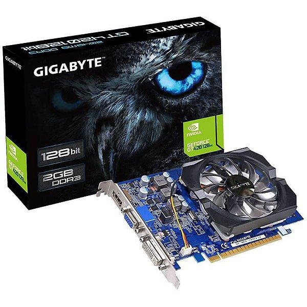 Placa de Vídeo VGA Gigabyte GeForce GT 420 2GB DDR3 128 Bits Nvidia PCI Express 2.0 - GV-N420-2GI Rev. 3.0