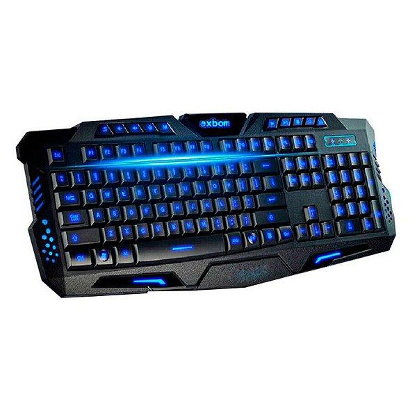 Teclado Gamer Exbom USB+Teclas de atalho e 3 cores de iluminação - BK-G35