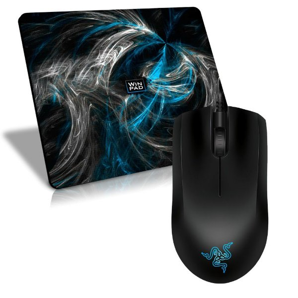 Mouse Razer Abyssus 1800DPI OEM + Mousepad Gamer WinPad AURA Blue Speed Grande - 45 x 40cm
