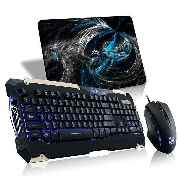 Combo Thermaltake TTSports Commander Teclado Semi-Mecânico + Mouse 6 Botões Alta Performance KB-CMC-PLBLPB-01 +  Mousepad WinPad AURA Blue Mini Speed 23cm x 19cm