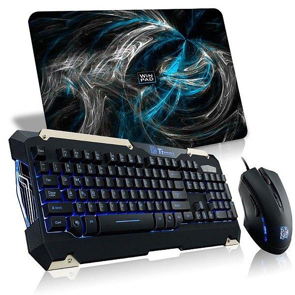 Combo TTSports Commander Teclado Semi-Mecânico + Mouse 6 Botões Alta Performance KB-CMC-PLBLPB-01 +  Mousepad WinPad AURA Blue Médio Speed 36cm x 28cm