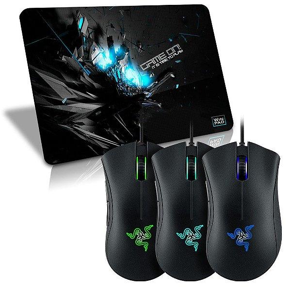 Mouse Razer Deathadder 2.000 DPI Iluminado (3 Cores + Macro) + Mousepad Gamer WinPad GameON! Blue SpeedMédio(36cm x 28cm x 0,3cm)