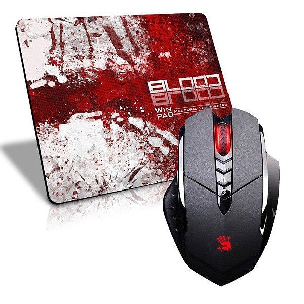 Mouse A4Tech X7 Bloody V7MA 3.200 DPI (Ultra Core 3 Ativado) + Mousepad Gamer WinPad Blood Grande Speed (45cm x 40cm x 0,3cm)