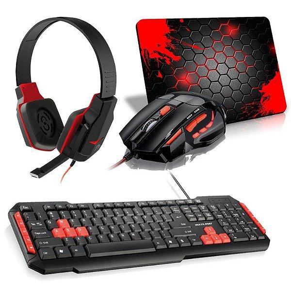 Combo Red Hypno Mini. Mouse FireMouse MO236 + Teclado Multilaser Multimídia + Headset Gamer PH073 + Mousepad Splash Mini