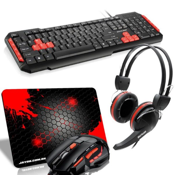 Combo Red Ampharos Médio. Mouse FireMouse MO236 + Teclado Multilaser Multimídia + Headset Crab + Mousepad Splash Médio