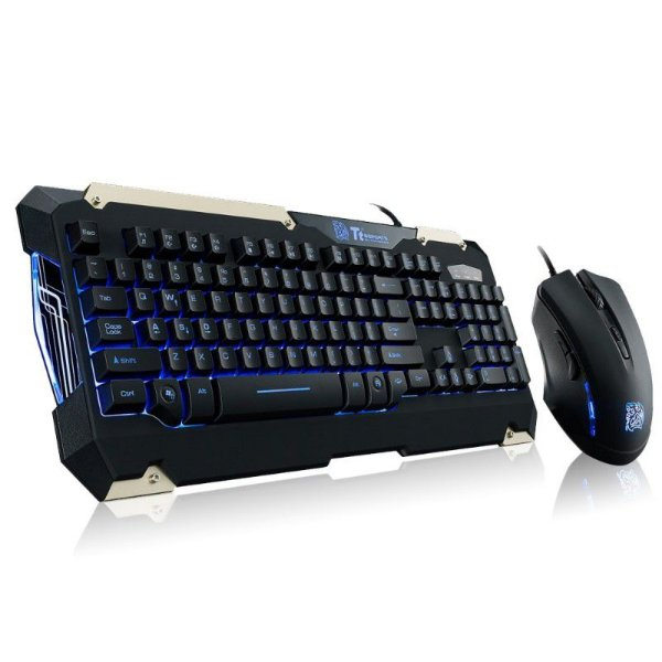 Combo Thermaltake TTSports Commander Teclado Semi-Mecânico + Mouse 6 Botões Alta Performance KB-CMC-PLBLPB-01 - OPEN BOX - OUTLET