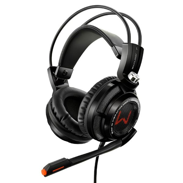 Headset Gamer Multilaser 7.1 Virtual Surround - Fone Vibration Arco USB Preto - PH144