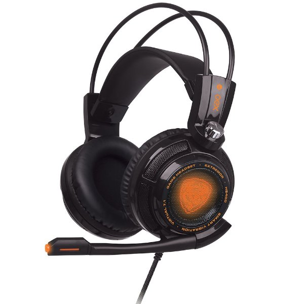 Headset Gamer OEX Extremor Preto  - Som 7.1 Virtual Surround, Smart Vibration - HS-400
