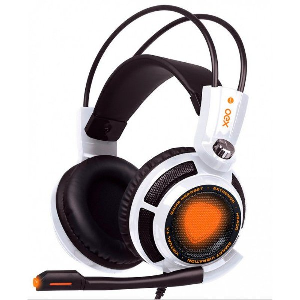 Headset Gamer OEX Extremor Branco - Som 7.1 Virtual Surround, Smart Vibration - HS-400