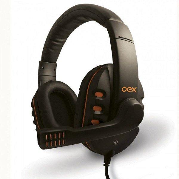 Headset OEX Gamer Action Fone com Microfone HS-200 Preto/Laranja