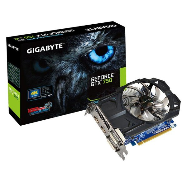 Placa de Vídeo Nvidia GIGABYTE GTX750 1GB DDR5 128 bit PCI-E (GV-N750OC-1GI)