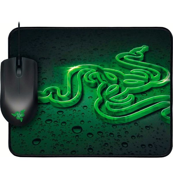 Combo Mouse Razer Abyssus 1800 DPI Green + Mousepad Goliathus Speed (Pequeno)