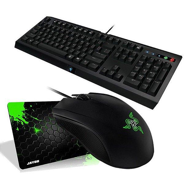 Combo Mouse Razer Abyssus 2014 3500 DPI + Teclado Razer Cyclosa ABNT2 + Mousepad Jayob Splash Green Médio (Speed ou Control)
