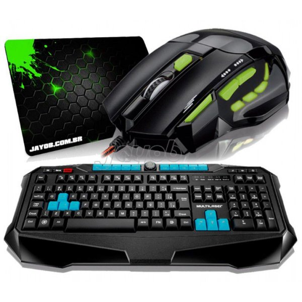 Combo Teclado Multilaser Gamer Metal War ABNT2 + Mouse Multilaser Gamer FireMouse 7 botões, 2400dpi + Mousepad Jayob Splash Green (Mini)