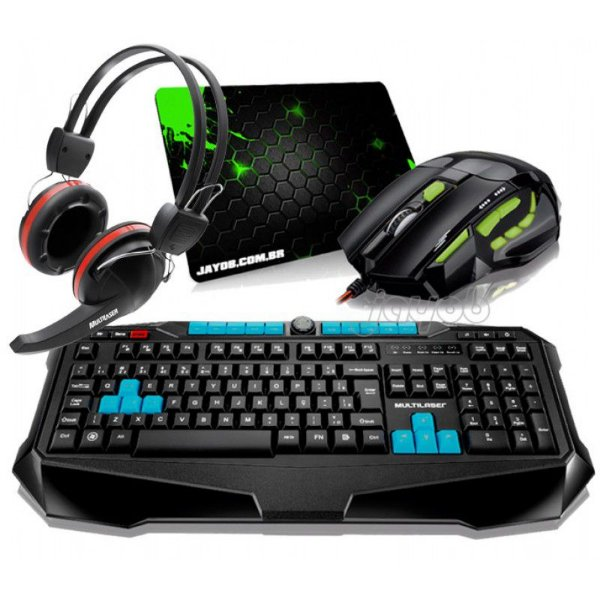 Combo Teclado Multilaser Gamer Metal War ABNT2 + Mouse Multilaser Gamer FireMouse 7 botões, 2400dpi + Fone Gamer Multilaser Crab + Mousepad Jayob Splash Green (Mini)