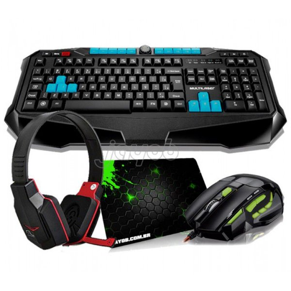 Combo Teclado Multilaser Gamer Metal War ABNT2 + Mouse Multilaser Gamer FireMouse 7 botões, 2400dpi + Fone gamer Multilaser + Mousepad Jayob Splash Green (Mini)