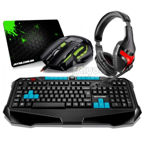 Combo Teclado Multilaser Gamer Metal War ABNT2 + Mouse Multilaser Gamer FireMouse 7 botões, 2400dpi + Fone Gamer Multilaser Warrior Ph101+ Mousepad Jayob Splash Green (Mini)