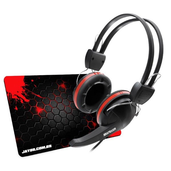 Combo Fone Multilaser Crab + Mousepad Jayob Splash Red Mini (Control ou Speed)