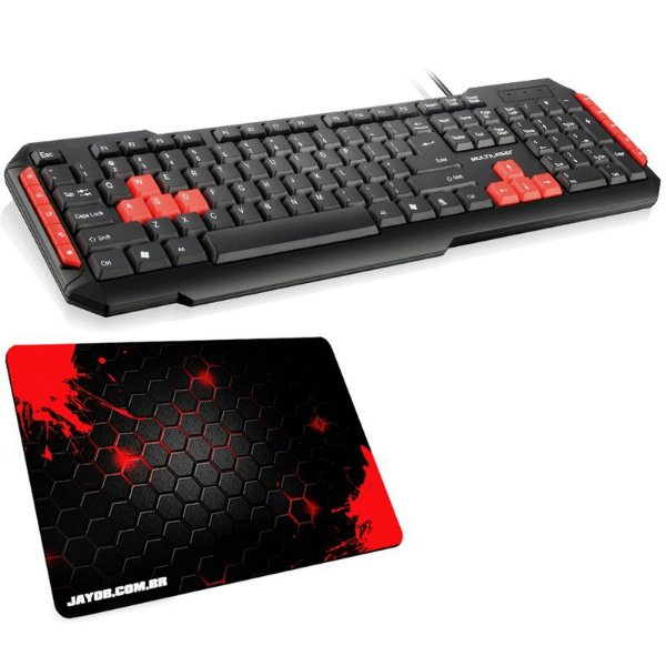 Combo Teclado Multilaser Gamer Multimídia + Mousepad Jayob Splash Red Mini (Speed ou Control)