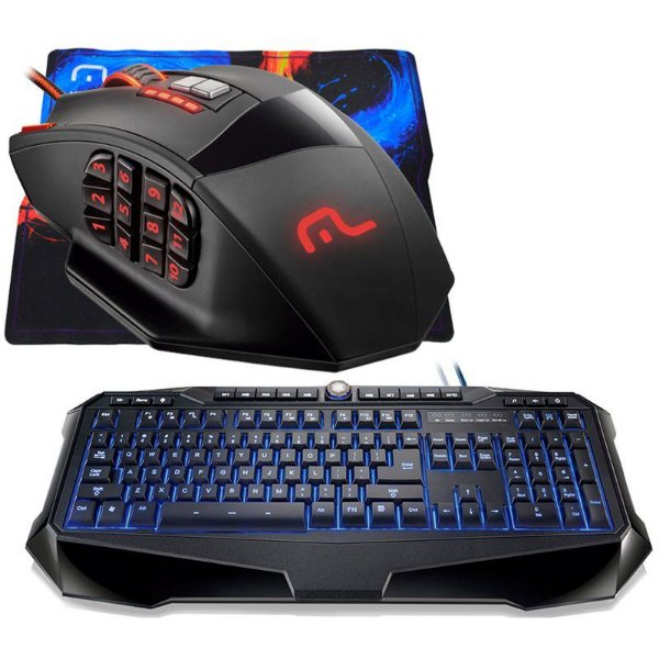 Combo Mouse Multilaser Warrior MO206 18 botões 4000dpi + Mousepad + Teclado Multilaser Gamer Warrior (Iluminado)