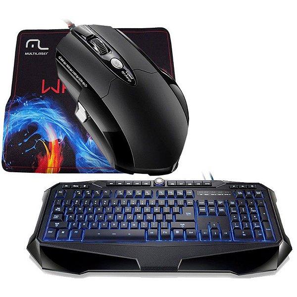 Combo Mouse Multilaser Warrior 3200 DPI + Mousepad + Teclado Multilaser Gamer Warrior (Iluminado)
