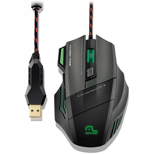 Mouse Profissional Multilaser Metal War 7 Botões - Sensor Avago 5050 de 3.200 DPI + MousePad - MO207