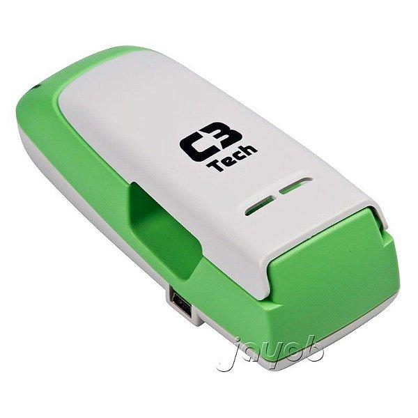 Carregador de Pilha Alcalina e Recarregável C3 Tech UC-CHG2 USB