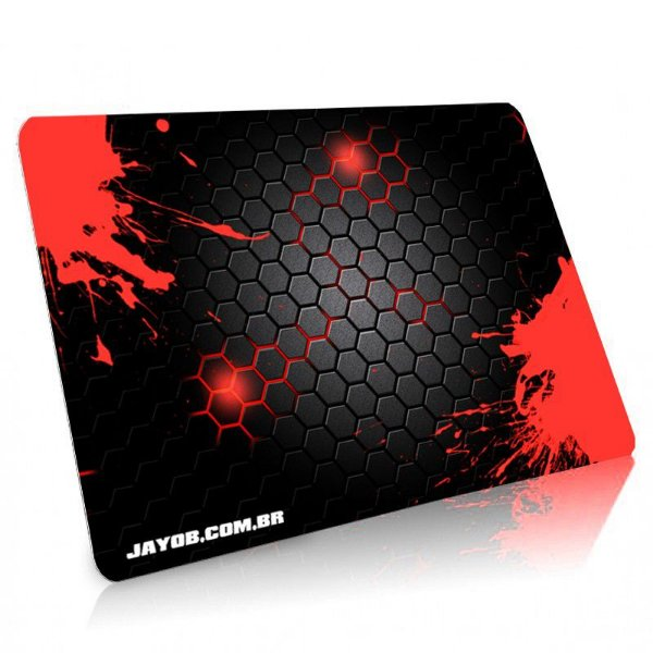 Mousepad Jayob Splash Red Médio Speed - (36cm x 28cm x 0,3cm)