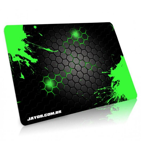 Mousepad Jayob Splash Green Médio Speed - (36cm x 28cm x 0,3cm)