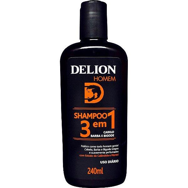 Shampoo 3 em 1 - Barba, Cabelo e Bigode 240ml - Delion Homem