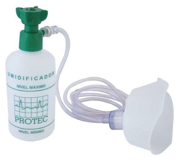 Umidificador C/ Frasco Plástico 250ML C/ Ext E Máscara Oxigênio Adulto - Protec