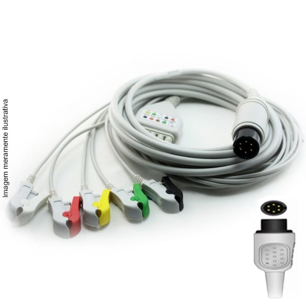 Cabo Paciente 5 Vias Compatível com SPACELABS Tipo Neo Pinch Encaixe - Vepex