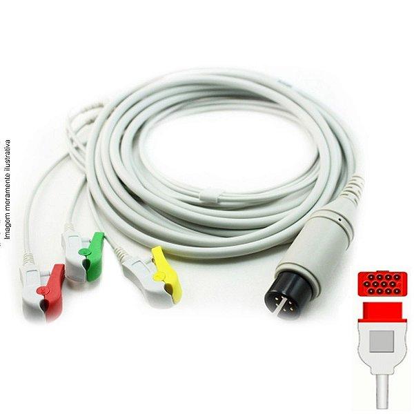 Cabo Paciente 3 Vias Compatível com Bionet Tipo Neo Pinch Encaixe EPX-C508-N - Vepex