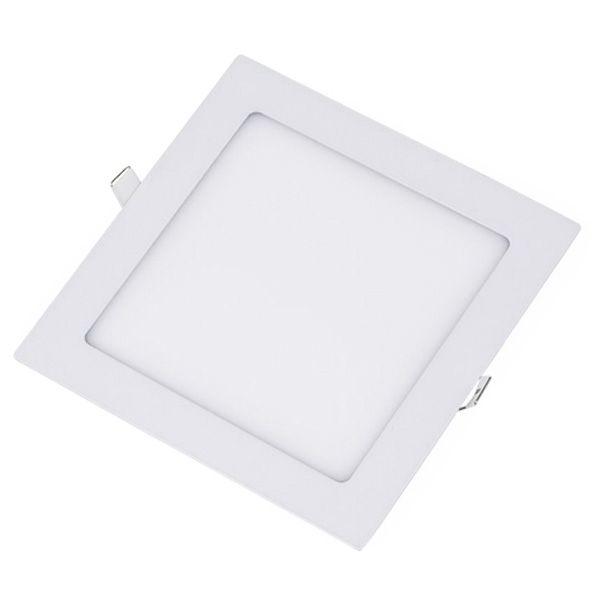 Plafon Led 18W de Embutir Slim Quadrado 22x22cm Completo - Luz Branca Fria, Neutra e Quente
