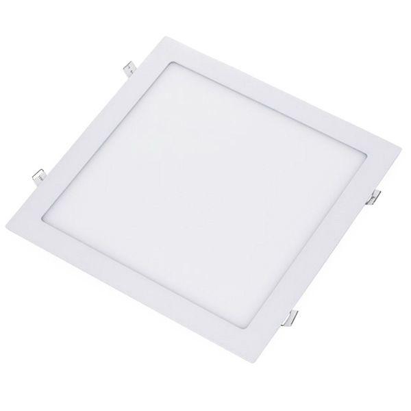 Plafon Led 24W de Embutir Slim Quadrado 30x30cm Completo - Luz Branca Fria, Neutra e Quente