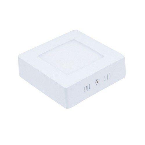Plafon Led 6W de Sobrepor Slim Quadrado 12x12cm Completo - Luz Branca Fria e Quente