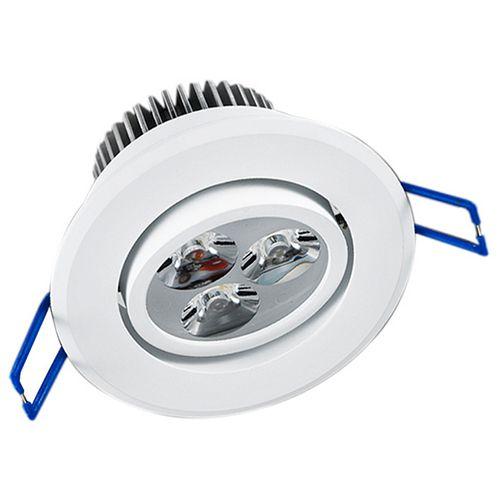 Spot Led 3W Dicróica de Embutir Redondo Direcionável Ø8,5cm - Luz Branca Fria e Quente - Aro Branco