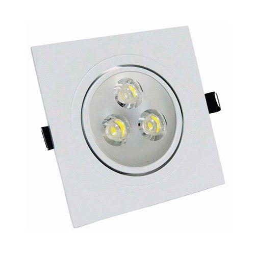 Spot Led 3W Dicróica de Embutir Quadrado Direcionável 9,0x9,0cm - Luz Branca Fria e Quente - Aro Branco