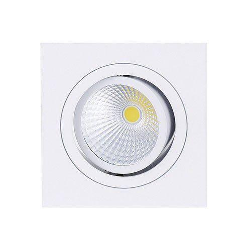 Spot Led Cob 7W Par 20 de Embutir Quadrado Direcionável 12x12cm - Luz Branca Fria e Quente - Aro Branco