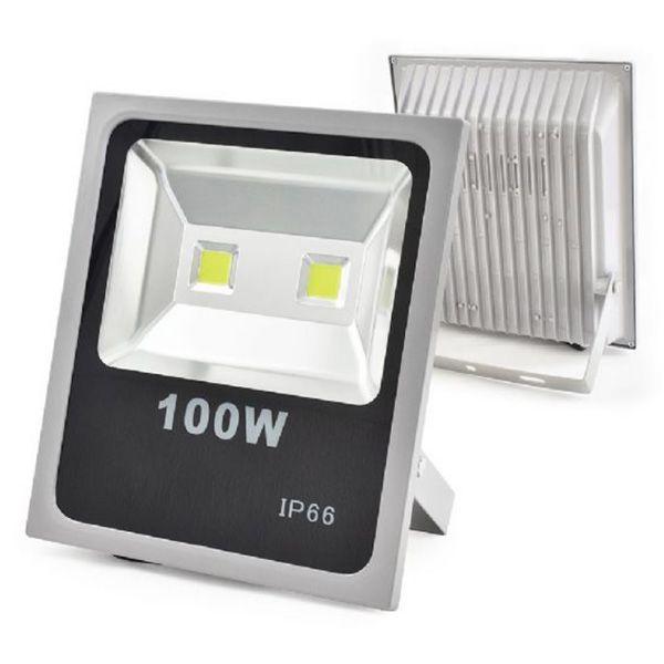Refletor Led 100W Slim Cinza IP66 - Luz Branca Fria