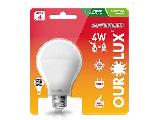 Lâmpada Led Bulbo 4W E27 - Luz Branca Fria e Quente