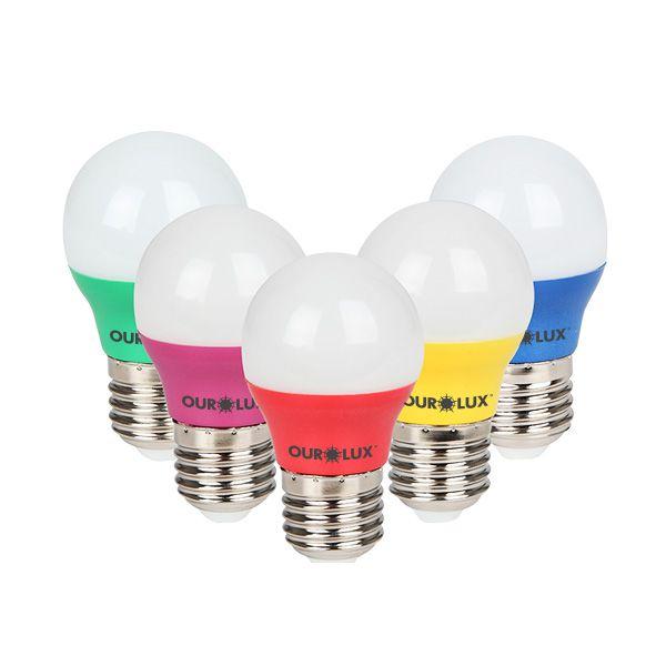 Lâmpada Led Bolinha Colorida 3W E27 - Luz Vermelha, Amarela, Verde e Azul