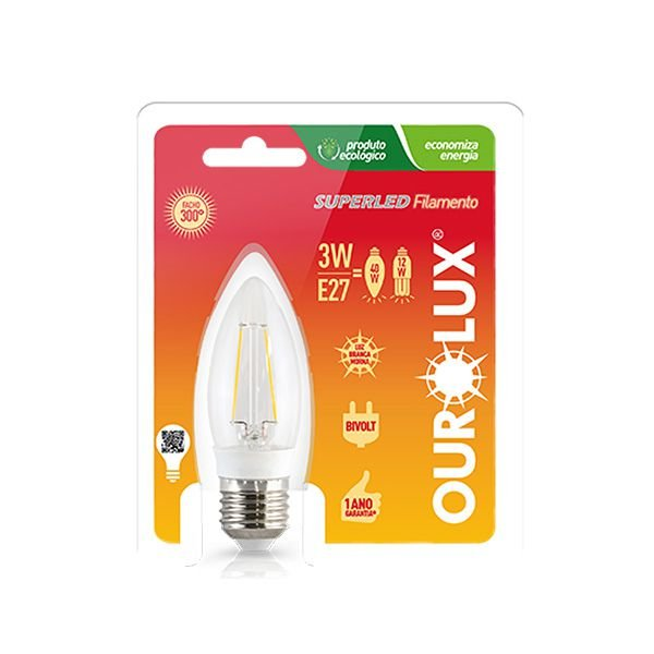 Lâmpada Vela Filamento Led 3W E27 - Luz Branca Fria e Quente