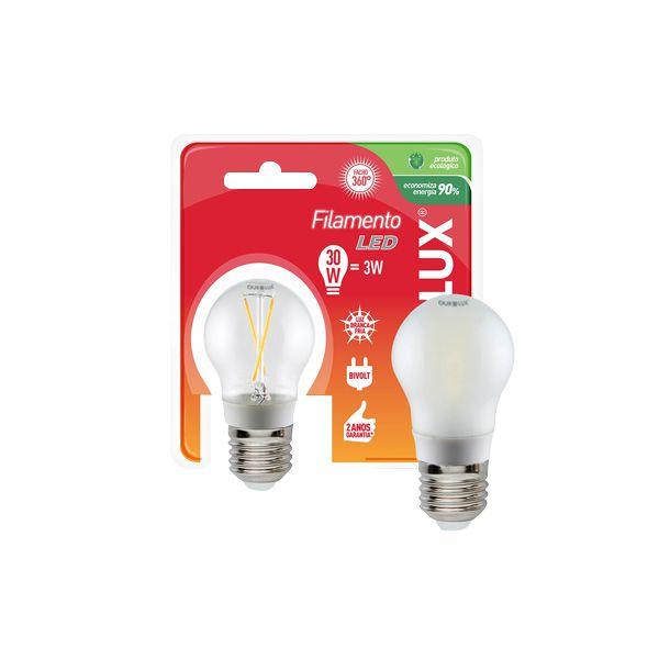 Lâmpada Bolinha Filamento Led 3W E27 - Luz Branca Fria e Quente